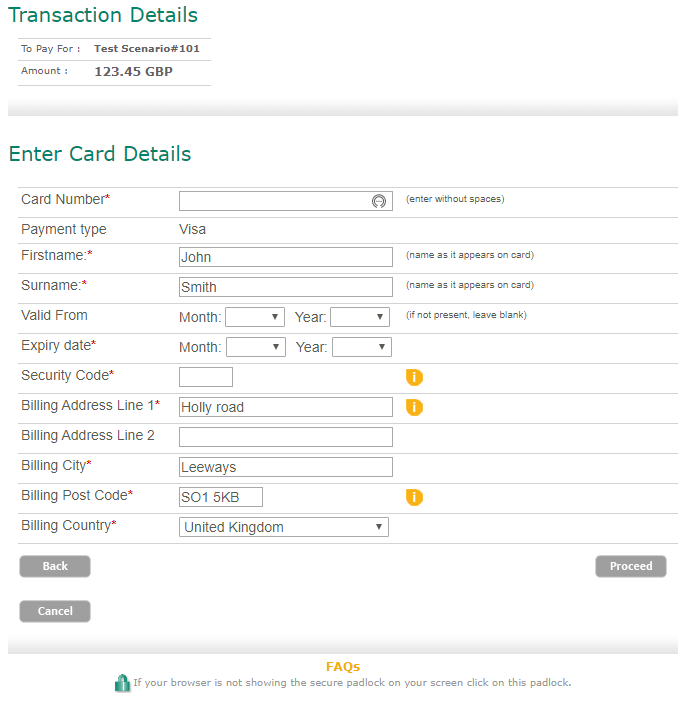 Payment Gateway Card Entry